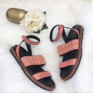 Coach Dannie Coral Studded Sandals Sz 8.5